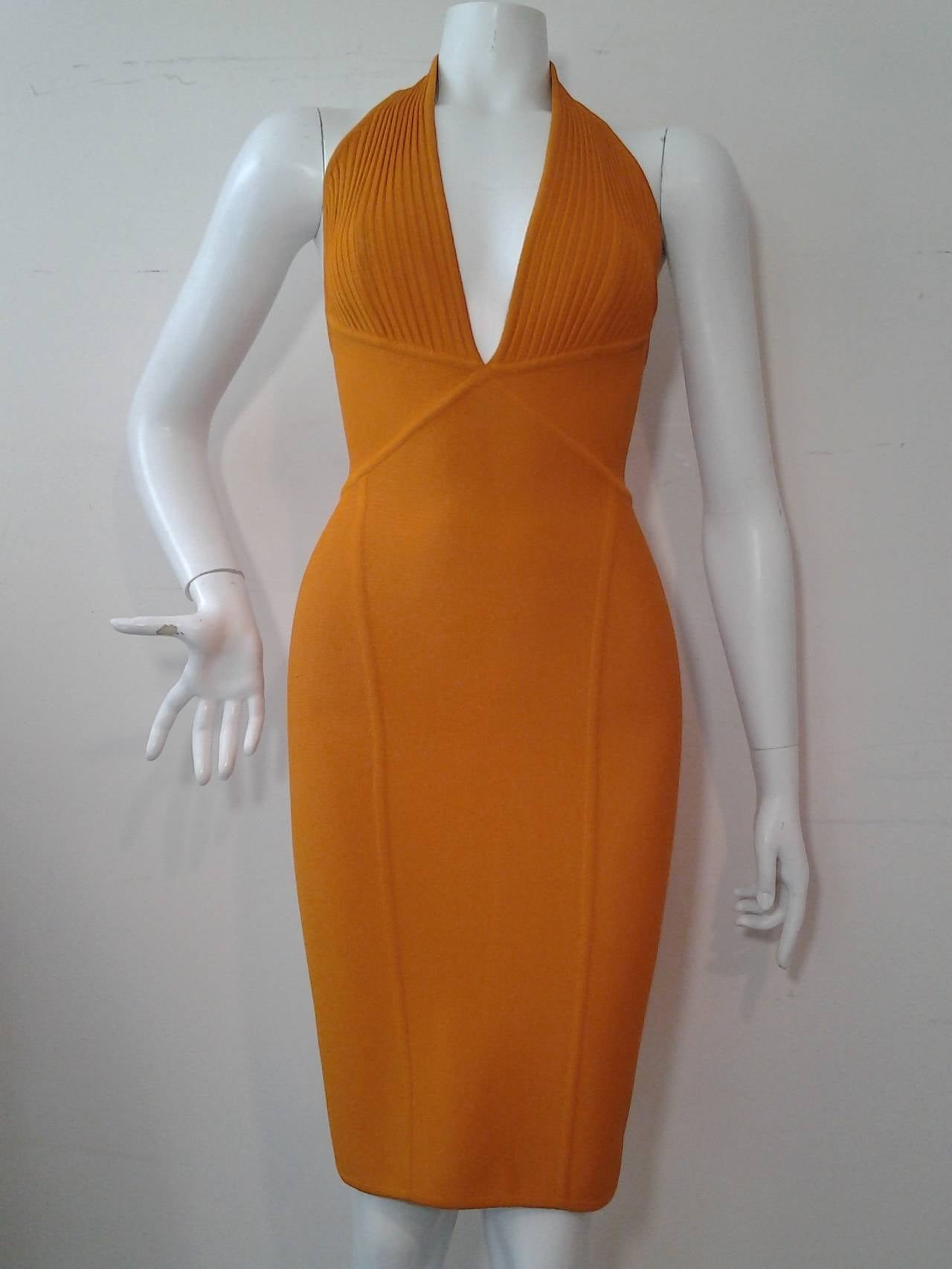 Women's Herve Leger Orange Rayon Knit Halter Dress For Sale
