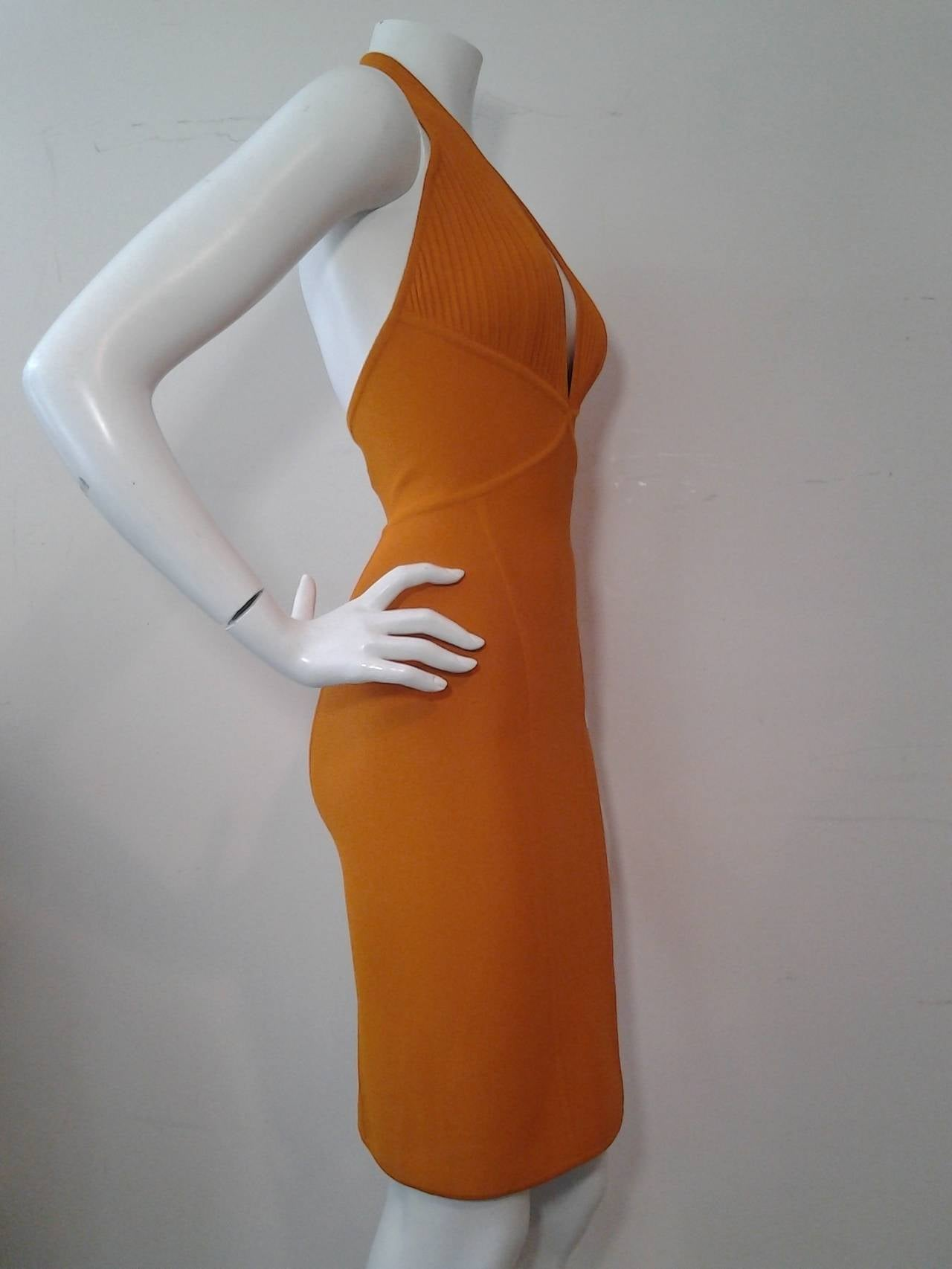 Herve Leger Orange Rayon Knit Halter Dress In New never worn Condition For Sale In San Francisco, CA