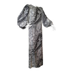 1980s Galanos Silk Print Gown with Elaborate Jeweled Paisley Design
