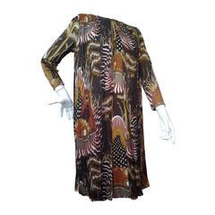 1970s La Mendola Print Jersey Dress with Silk Chiffon Overlay