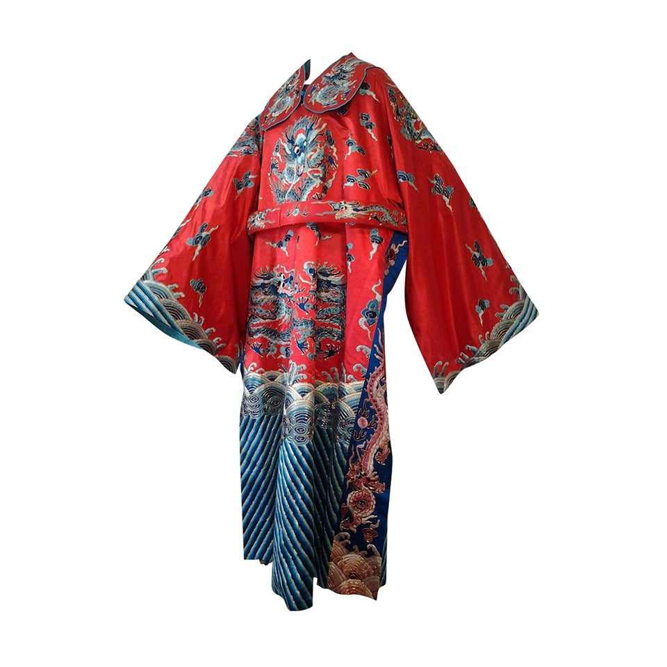 1940s Chinese Red Dragon Robe 3 Pieces 1
