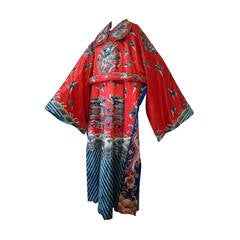 1940s Chinese Red Dragon Robe 3 Pieces
