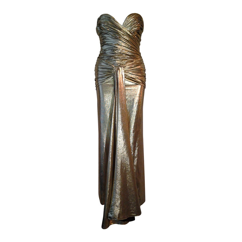 1979 Vicky Tiel Gold Lame Goddess Evening Gown