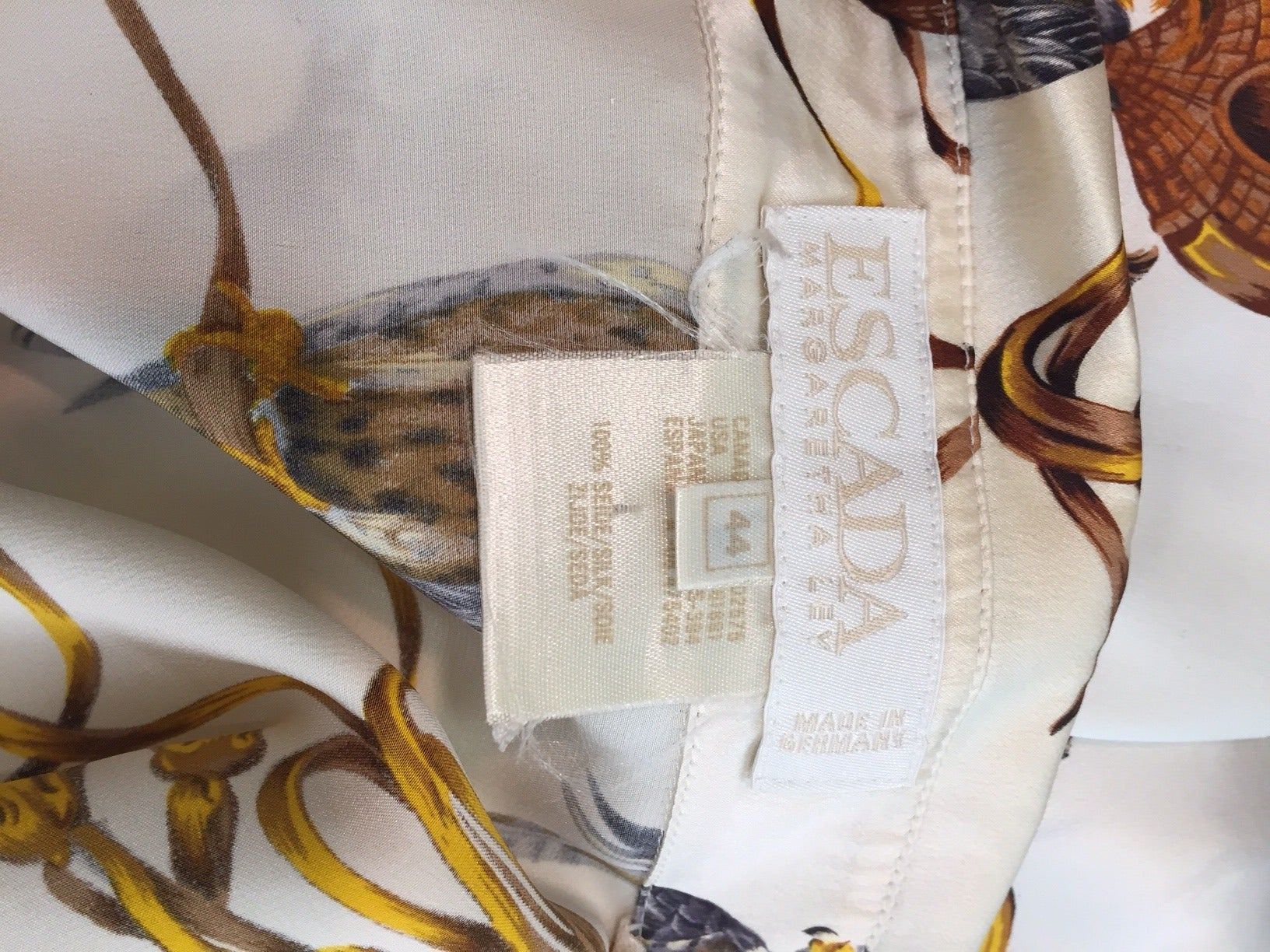8677911d57c42 1980s Escada Silk Blouse w  Gorgeous Falcon Print For Sale at 1stdibs