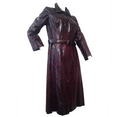 1970s J. Tiktiner Burgandy Serpent Skin Coat Dress w/ Matching Belt