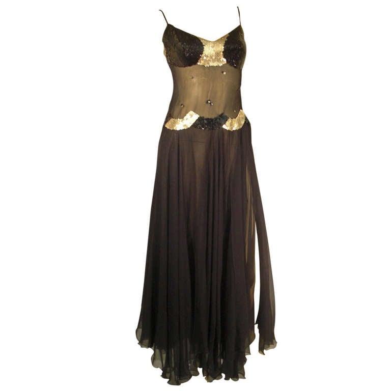 1970s Loris Azzaro Sheer Midriff Sequined Silk Chiffon Gown