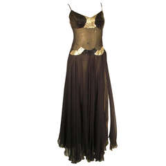 1970s Loris Azzaro Sheer Midriff Sequined Silk Chiffon Gown