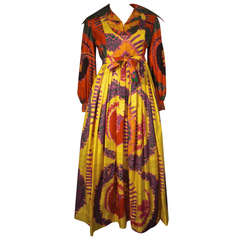 1970s Geoffrey Beene Psychedelic Tropical Print Maxi Dress
