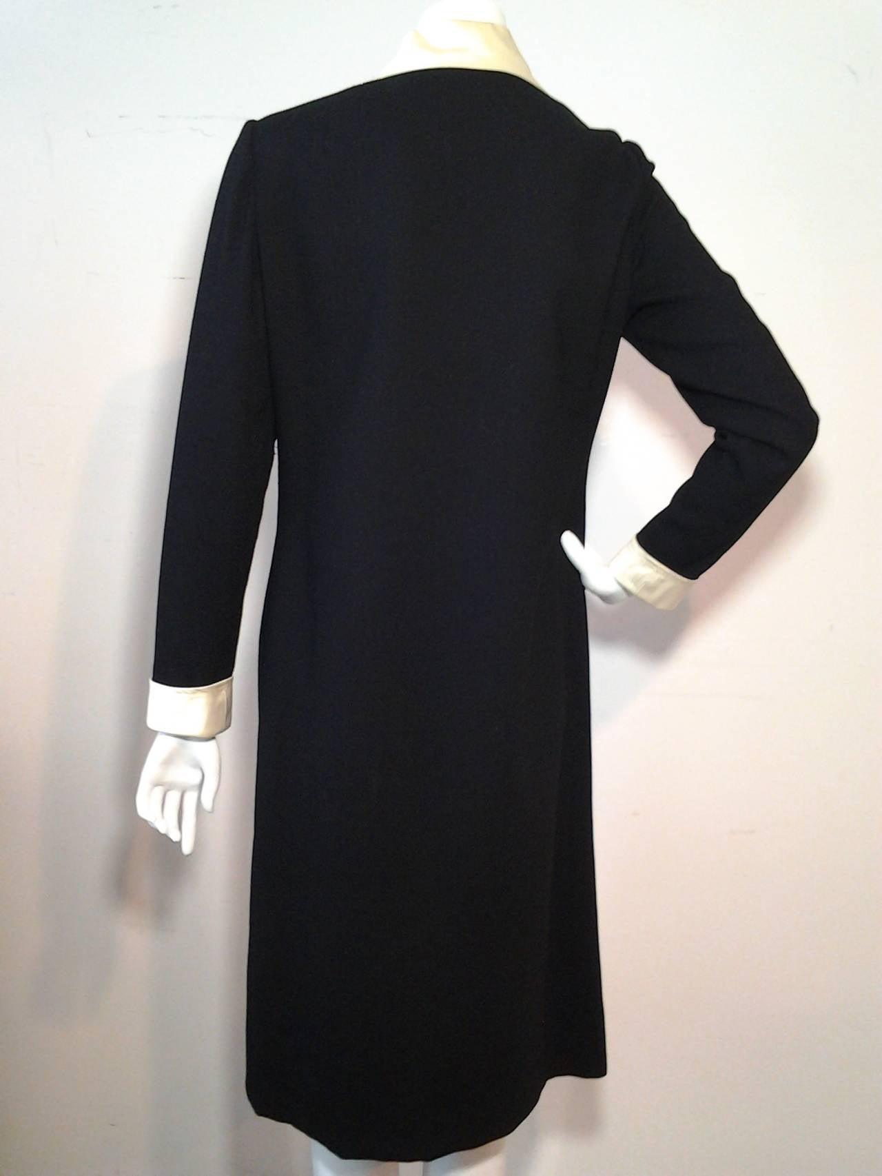 1960s Oscar de La Renta Wool Crepe Tuxedo Shirtdress w/ Rhinestone Zipper 4