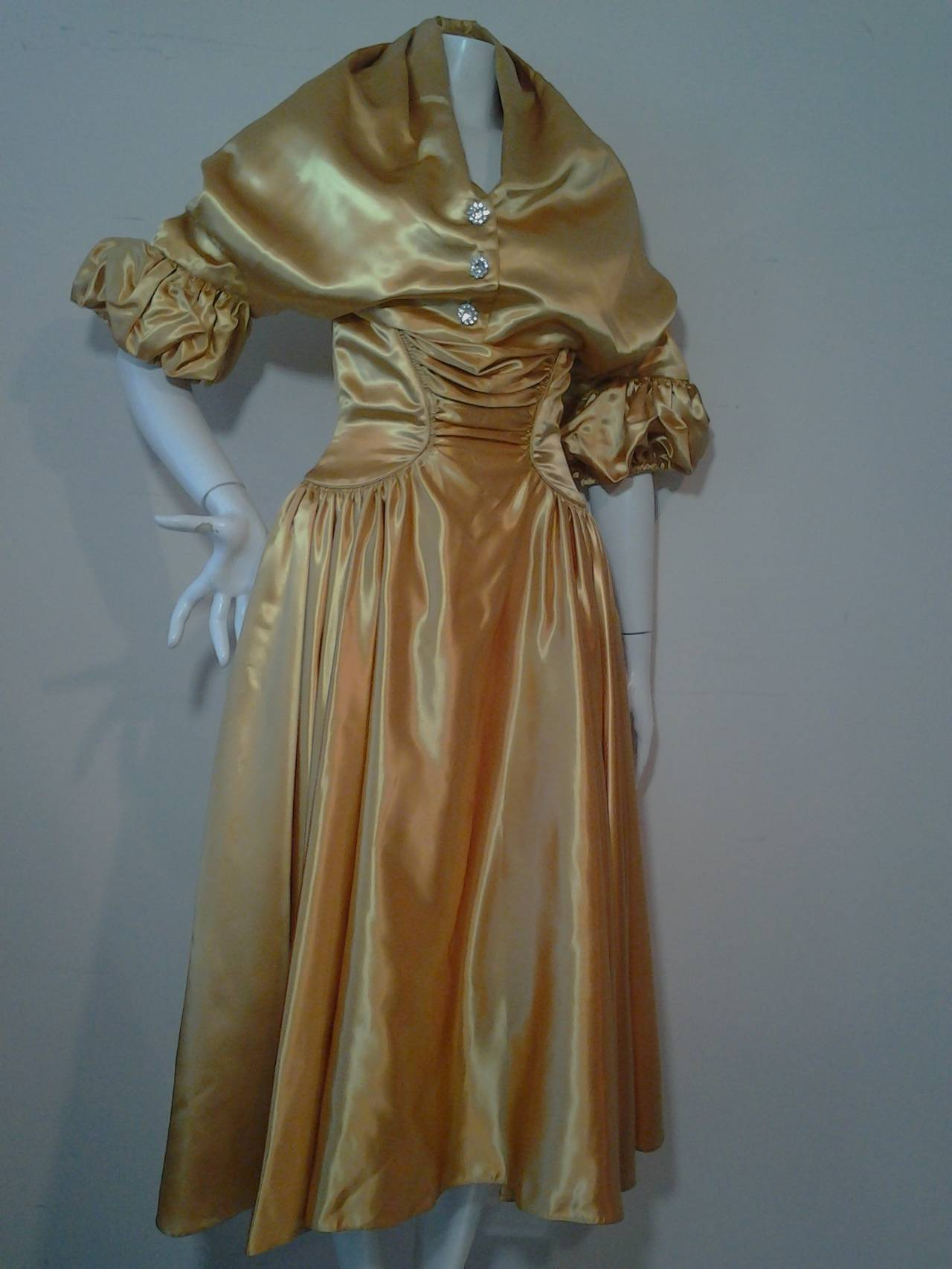 1950s Gold Silk Satin Strapless Dress And Jacket Ensemble