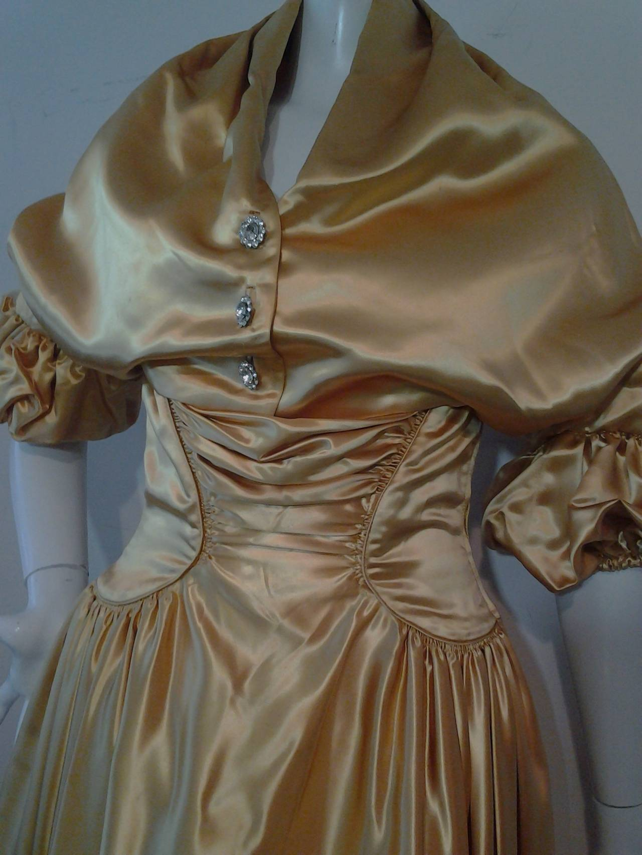 1950s Gold Silk Satin Strapless Dress and Jacket Ensemble For Sale 2