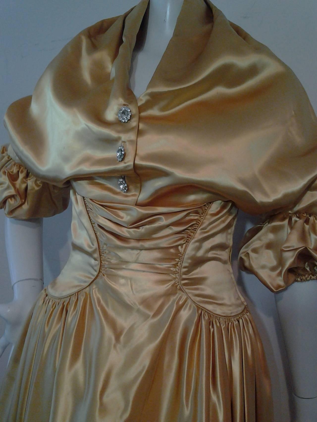 1950s Gold Silk Satin Strapless Dress and Jacket Ensemble 7