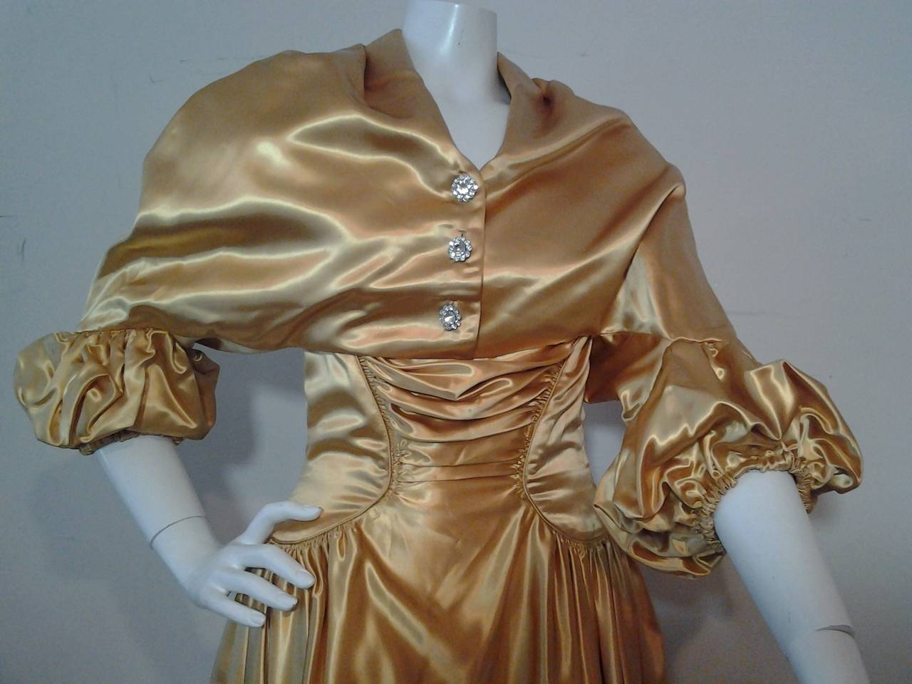 1950s Gold Silk Satin Strapless Dress and Jacket Ensemble For Sale 1