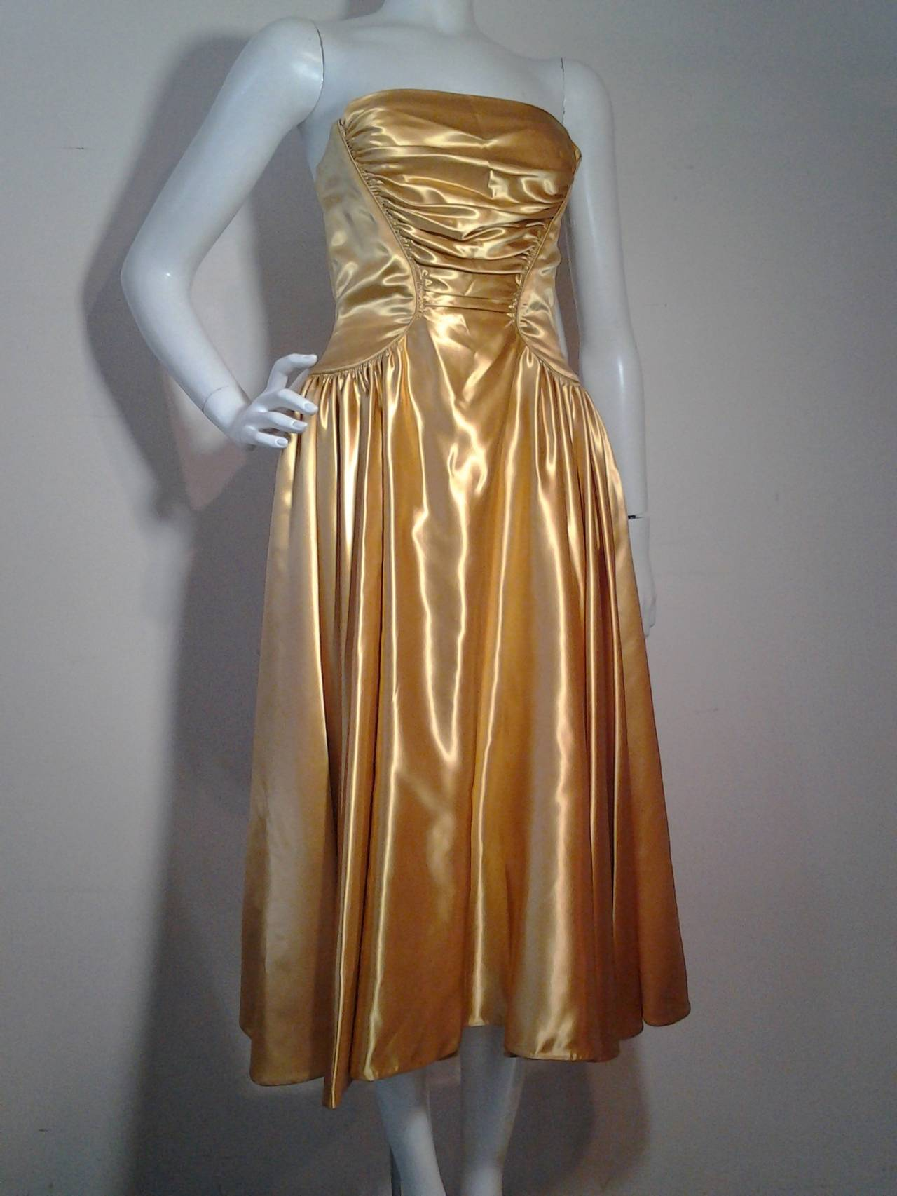 1950s Gold Silk Satin Strapless Dress And Jacket Ensemble For Sale At 1stdibs