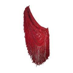 1970s Scarlet Ribbon Macrame Fringed Shawl