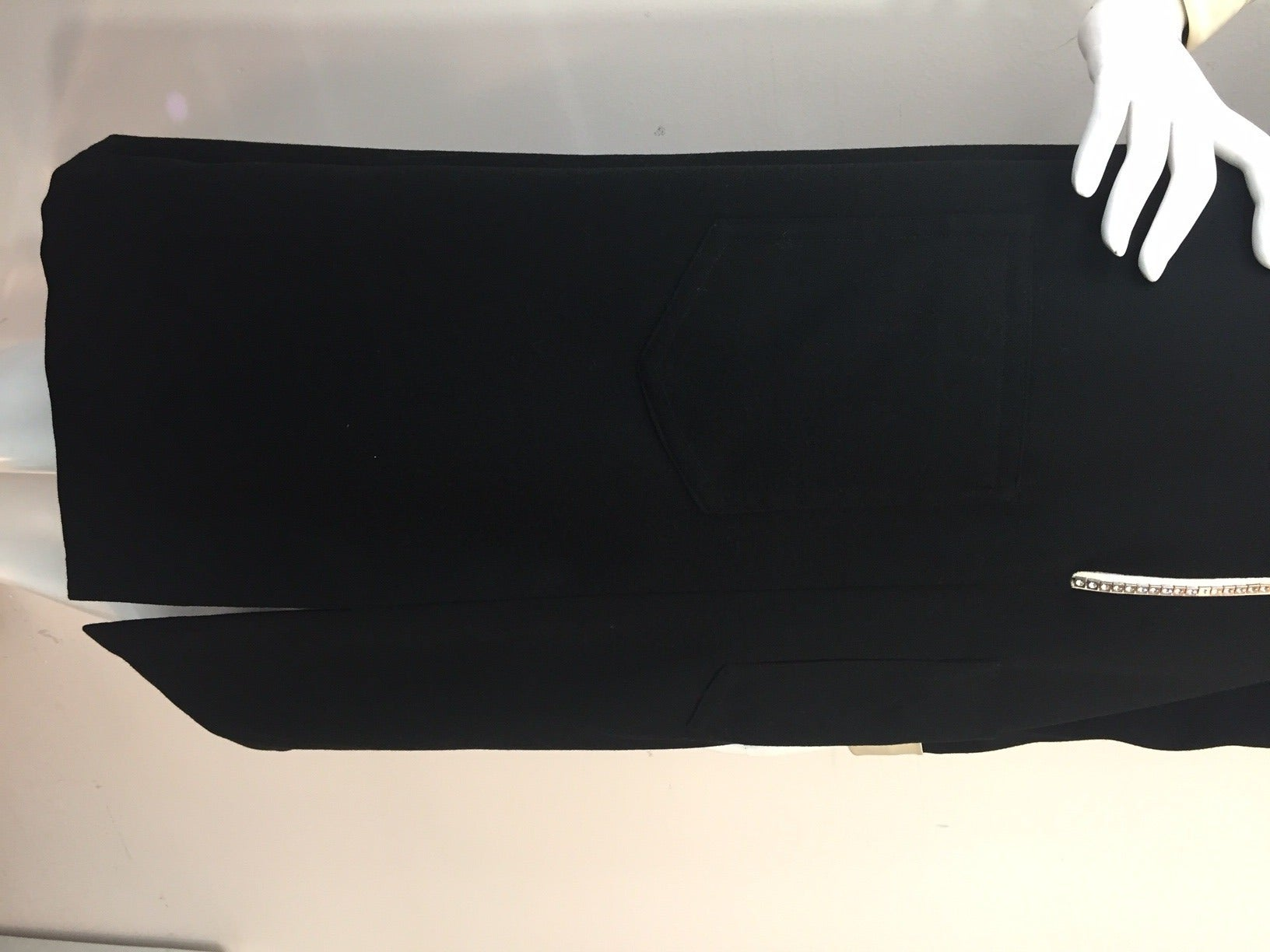 1960s Oscar de La Renta Wool Crepe Tuxedo Shirtdress w/ Rhinestone Zipper 5