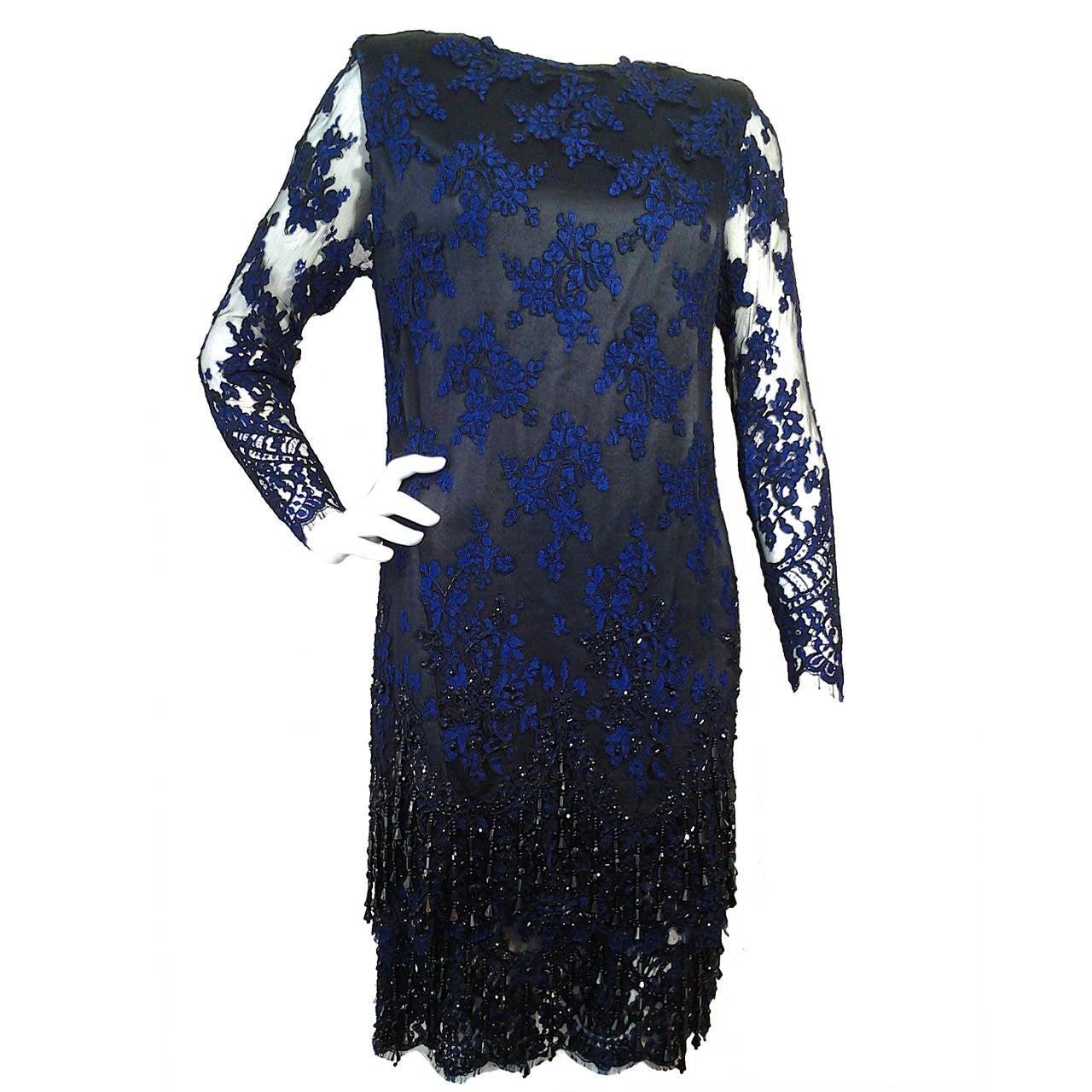 1990 James Galanos Cobalt and Black Alencon Lace Shimmy Dress