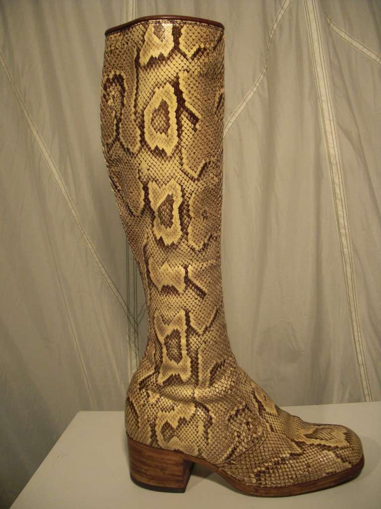 1960s Custom Made Snakeskin Rockstar Boots At 1stdibs