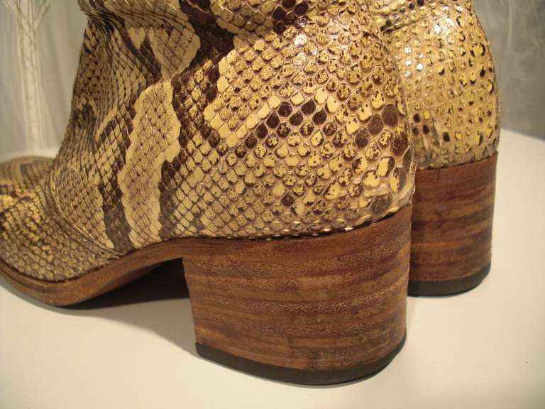 1960s Custom Made Snakeskin Rockstar Boots 6