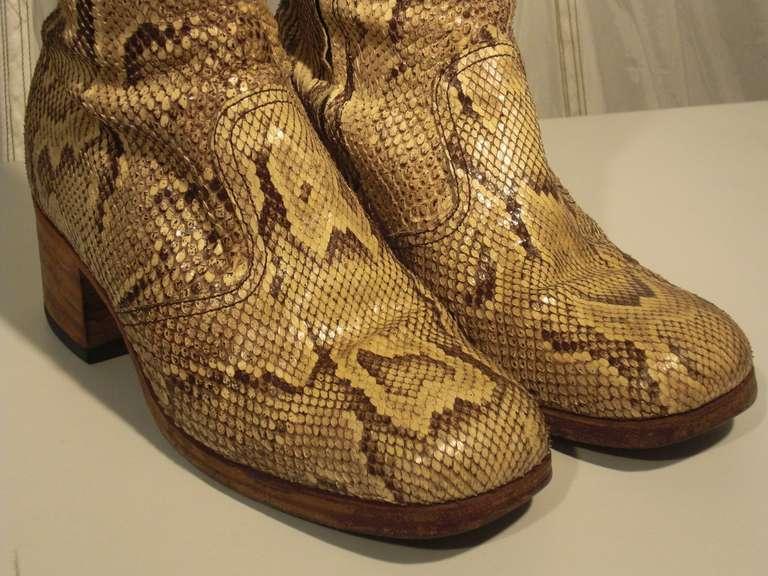 1960s Custom Made Snakeskin Rockstar Boots 7