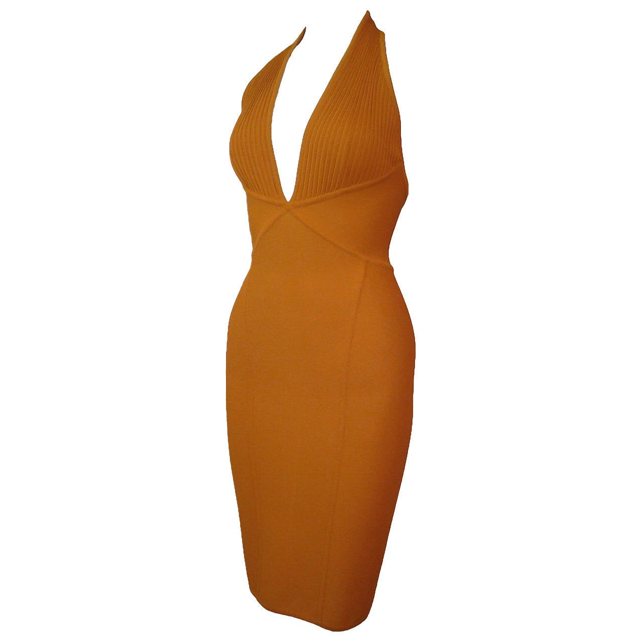 Herve Leger Orange Rayon Knit Halter Dress For Sale