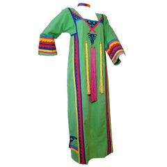 1970s Josefa Mexican Cotton Caftan with Tassel Streamers