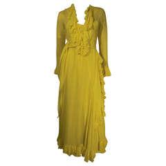 1970s  Lemon Yellow Silk Chiffon Gown with Ruffles