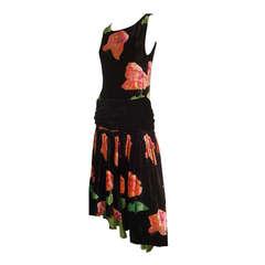 1920s Milgrim Floral Silk Velvet Dropped Waist Tea Dress