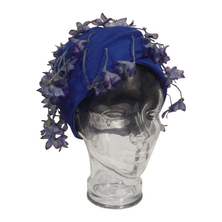 1960s Cathay of California Cobalt Blue Turban Hat w/ Violet Flowers 1