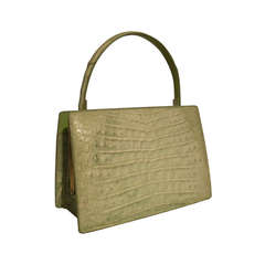 "1960s Lucille de Paris ""Croco Sauvage"" Mint Green Crocodile Skin Handbag"