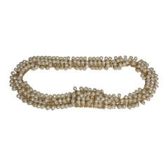 1980s Christian Dior Chain Link Belt w/ Faux Pearls