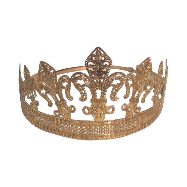 1940s 1950s Expandable Brass Fleur de Lis Costume Crown 1