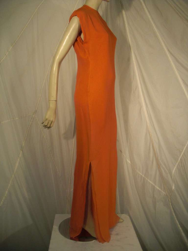 Red 1970s Galanos Orange Silk Chiffon Multi-Layered Column Gown and Jacket For Sale