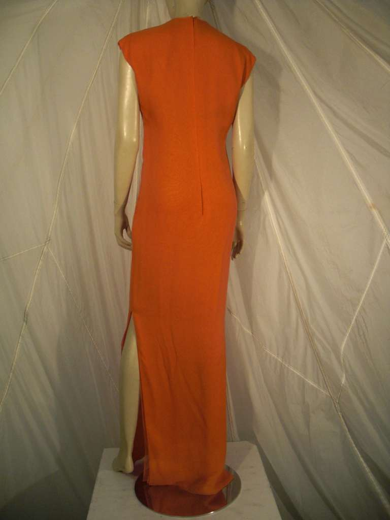 1970s Galanos Orange Silk Chiffon Multi-Layered Column Gown and Jacket In Excellent Condition For Sale In San Francisco, CA