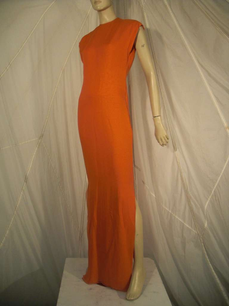 Women's 1970s Galanos Orange Silk Chiffon Multi-Layered Column Gown and Jacket For Sale