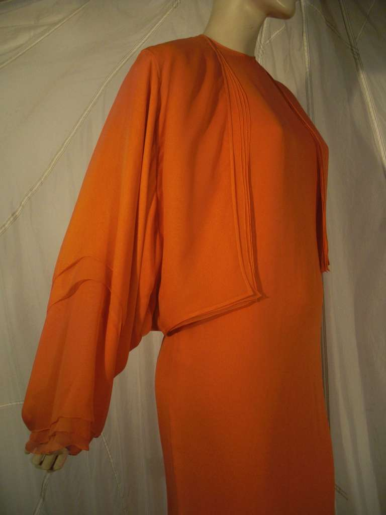 1970s Galanos Orange Silk Chiffon Multi-Layered Column Gown and Jacket For Sale 1