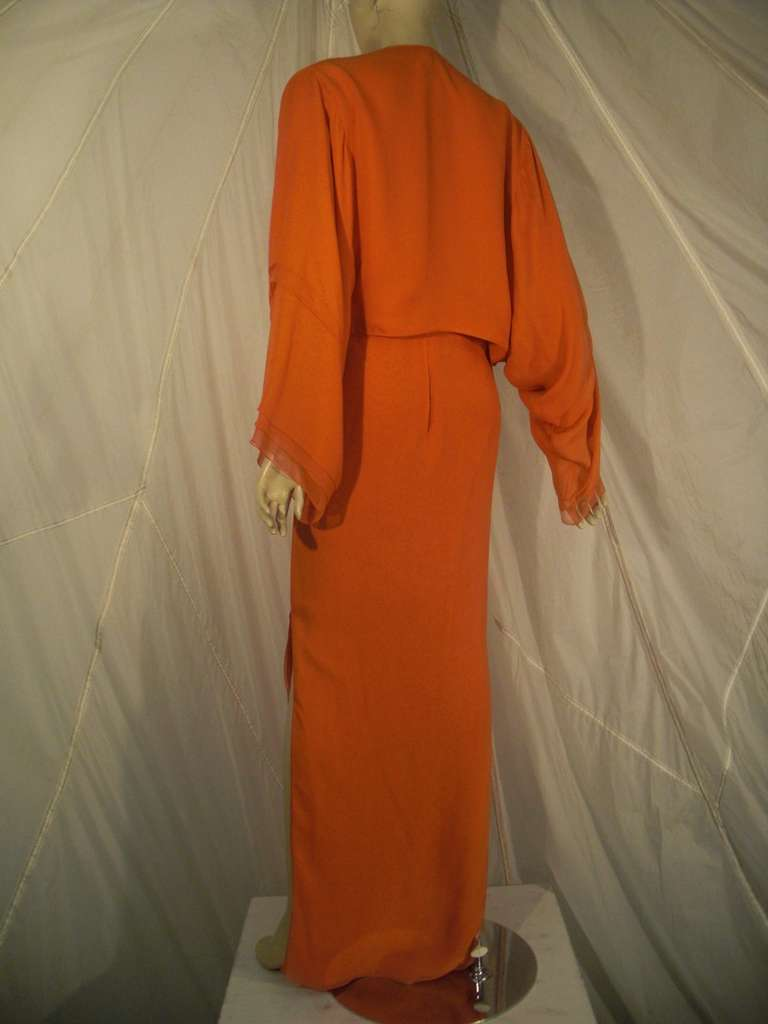 1970s Galanos Orange Silk Chiffon Multi-Layered Column Gown and Jacket For Sale 2