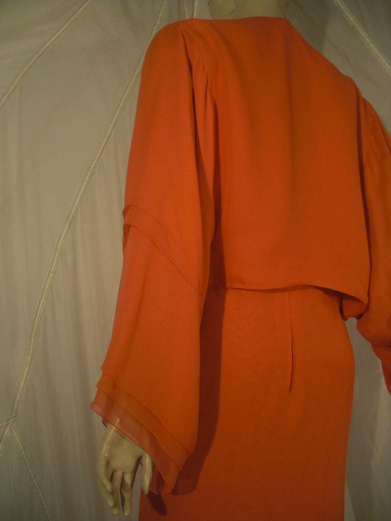 1970s Galanos Orange Silk Chiffon Multi-Layered Column Gown and Jacket For Sale 3