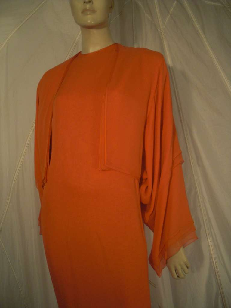 1970s Galanos Orange Silk Chiffon Multi-Layered Column Gown and Jacket For Sale 4