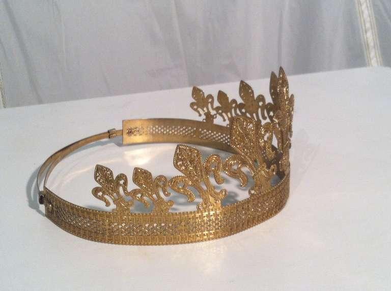 1940s 1950s Expandable Brass Fleur de Lis Costume Crown 5