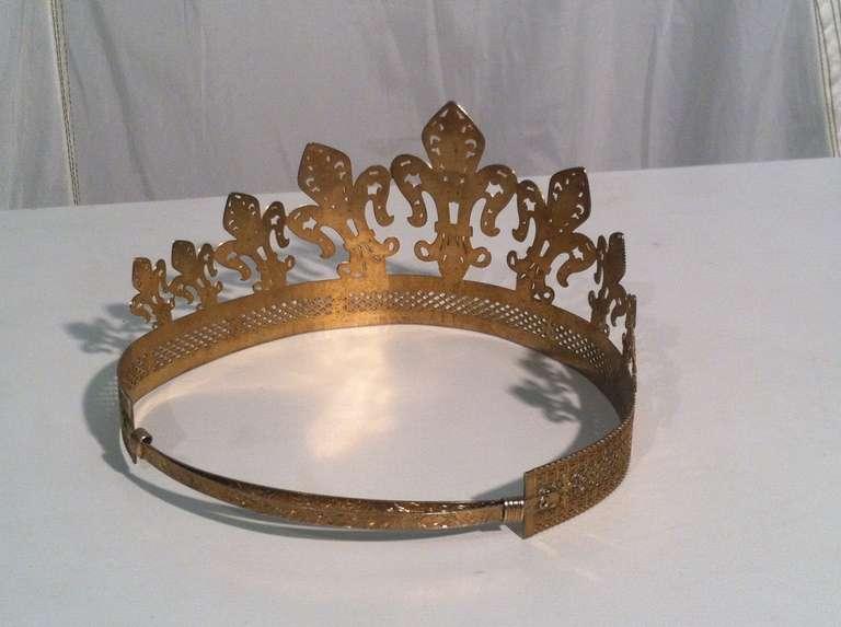 1940s 1950s Expandable Brass Fleur de Lis Costume Crown 4