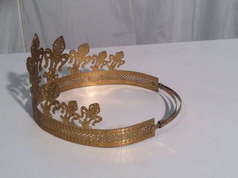 1940s 1950s Expandable Brass Fleur de Lis Costume Crown 3