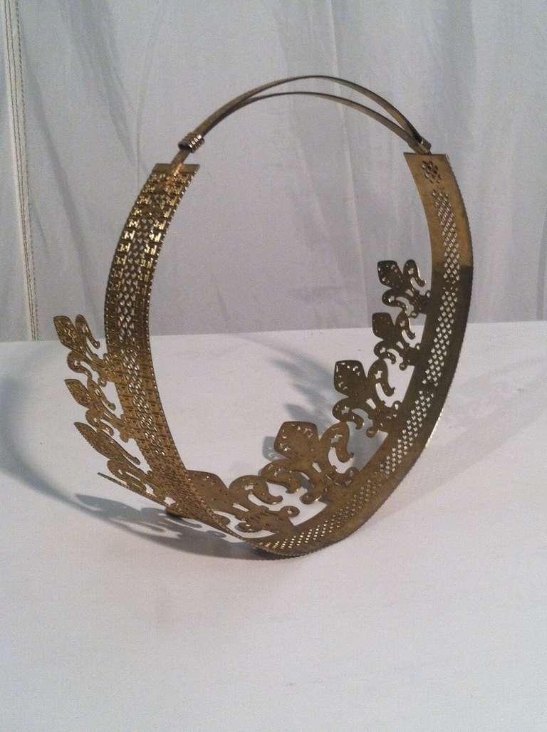 1940s 1950s Expandable Brass Fleur de Lis Costume Crown 2