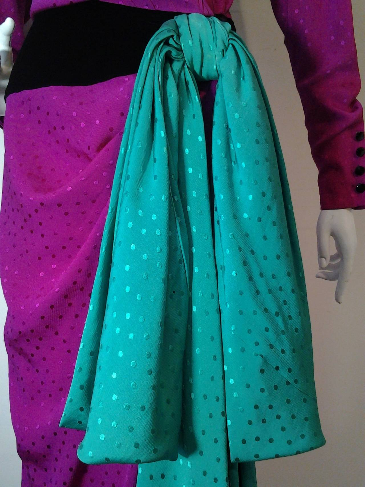 Women's 1980s Emanuel Ungaro Fuchsia and Emerald Silk Wrap Evening Gown For Sale
