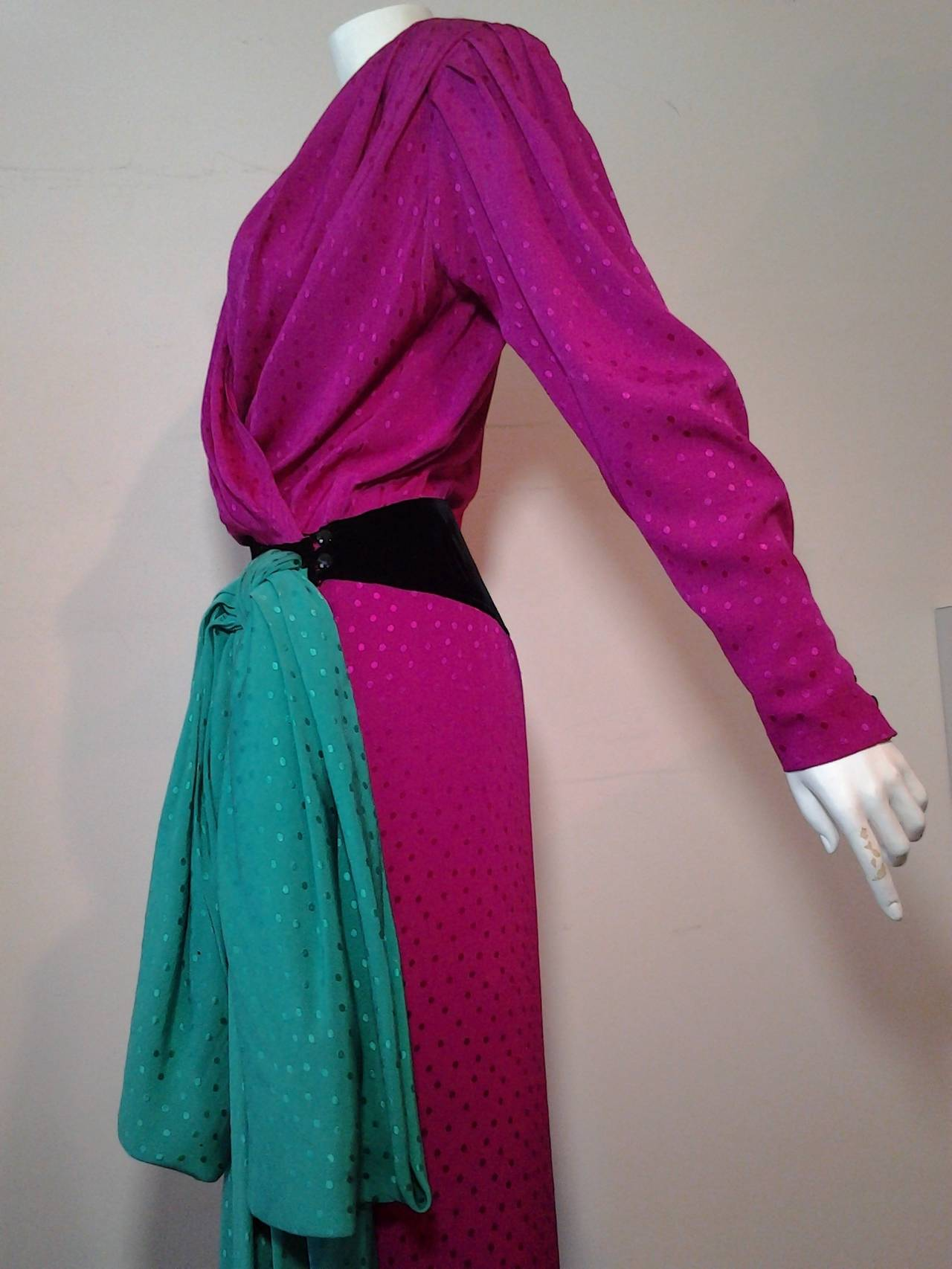 Purple 1980s Emanuel Ungaro Fuchsia and Emerald Silk Wrap Evening Gown For Sale
