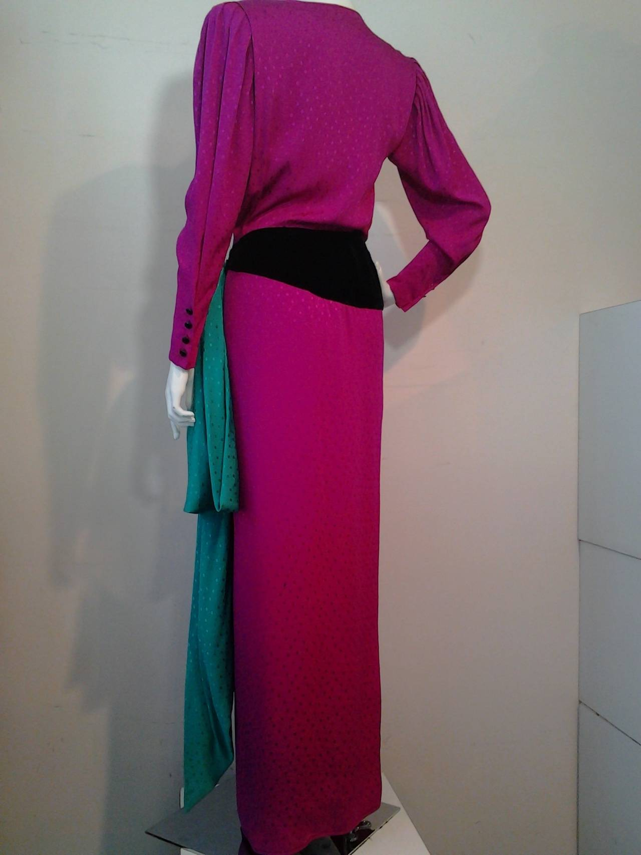 1980s Emanuel Ungaro Fuchsia and Emerald Silk Wrap Evening Gown In Excellent Condition For Sale In San Francisco, CA