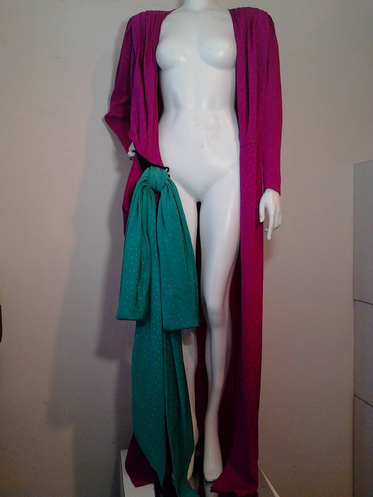 1980s Emanuel Ungaro Fuchsia and Emerald Silk Wrap Evening Gown For Sale 1