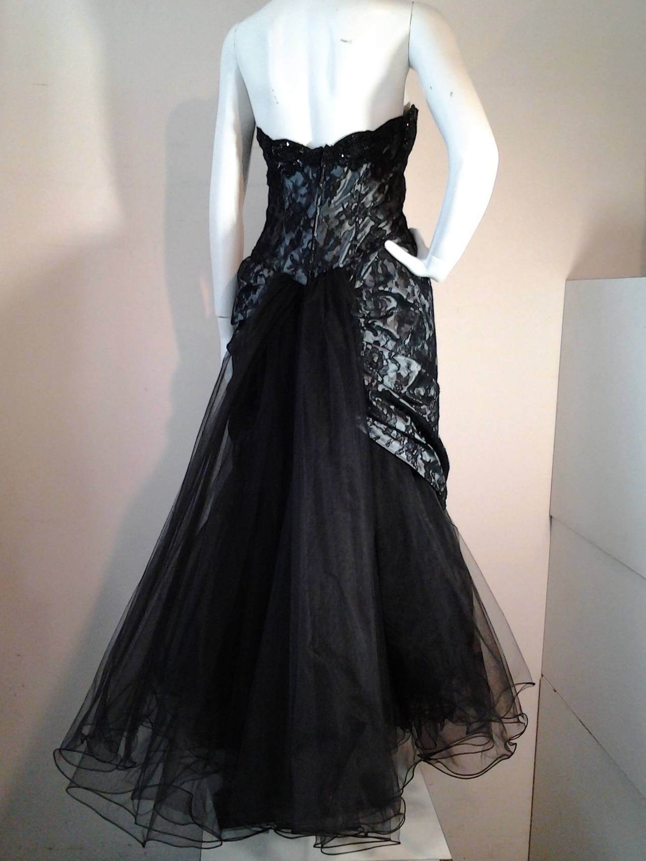 "Women's 1980s Vicky Tiel Couture ""Giselle"" Beaded Black Lace / Steel Blue Satin Gown For Sale"