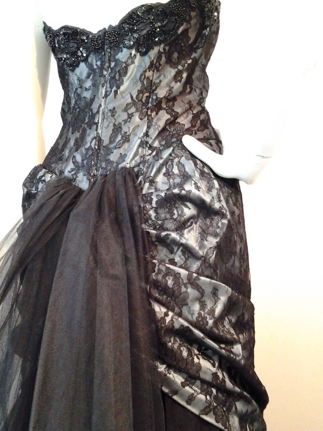 "1980s Vicky Tiel Couture ""Giselle"" Beaded Black Lace / Steel Blue Satin Gown For Sale 2"