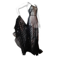 1930s Black Rayon Tulle Gown with Black Linear Paillette Embellishment